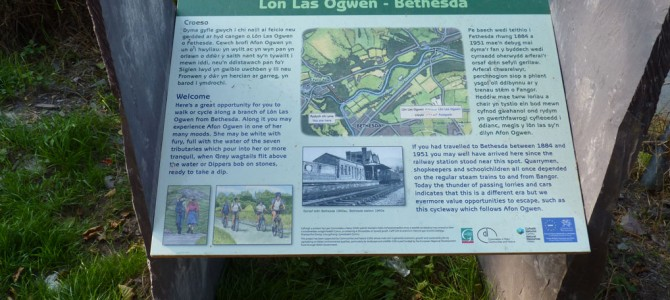 Lôn Las Ogwen – Panels for Journey of the Slate and cycleway extension