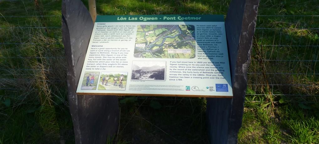 Paneli Taith y Llechen ac estyniad – Lôn Las Ogwen – Slate Journey and extension panels